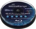 BluRay Disk BD-R 25 GB 6x Mediarange 10er Cake bedruckbar