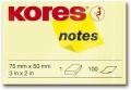 Haftnotiz 50x75 mm 100 Blatt gelb KORES N46057