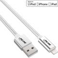 USB-Kabel Lightning Apple Silber/Alu textilummantelt ca. 2m